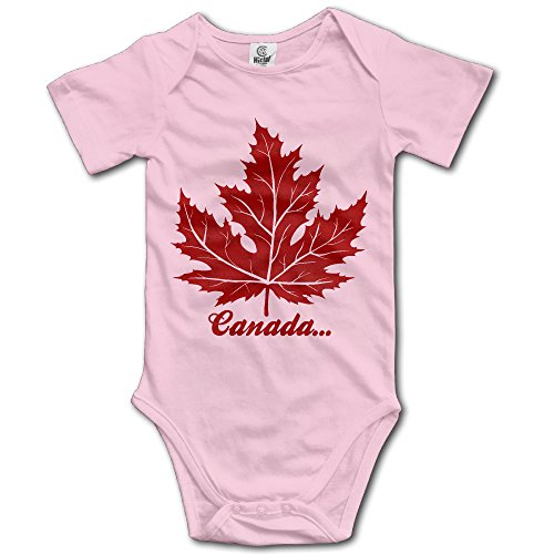 Baby Child 100% Cotton Short Sleeve Onesies Toddler Bodysuit Maple Leaf Jumpsuit Clothes Pink Size 6 ()