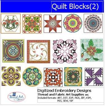 Threadart Machine Embroidery Designs - Quilt Blocks(2) - USB Stick