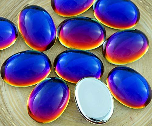 - 4pcs Crystal Rainbow Dichroic Heliotrope Vitrail Blue Azure Oval Czech Glass Cabochon 18mm x 13mm