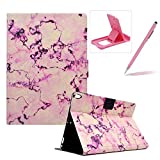 Wallet Folio Case for iPad Pro 10.5,Bookstyle Flip Pu Leather Case for iPad Pro 10.5,Herzzer Stylish Classic [Pink Marble Print] Stand Magnetic Smart Leather Case with Soft Inner for iPad Pro 10.5