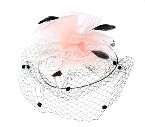 Urban CoCo Women's Bow Feather Net and Veil Fascinator Cocktail Party Hair Clip Hat (Nude pink-model 3)