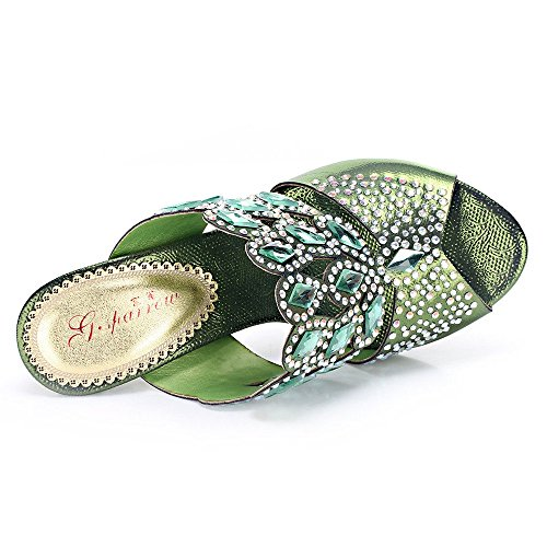 Heel Open Women's Unicoratha Crystal Green Shaped Rhombus Chunky Back Rhinestones With Sandals On Slip 1PwRqTwBY