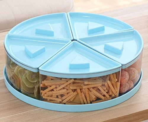 Multi Snack - LFHT Multi Sectional Nuts and Candy Snack Serving Tray with Lid (Blue)