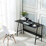 Office Desktop Laptop Computer Desk I Shaped Gaming Writing Study Table Workstation, Wood & Metal, 47'' (Black)