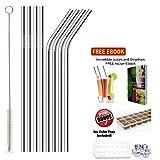 Straws - 8 Premium Stainless Steel Drinking Straws With BONUS Ice Cube Tray, Brush & FREE eBook. Fits all Yeti, RTIC & Ozark Trail Tumblers For 30 oz & 20 oz Tumblers. Reusable Straws