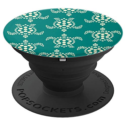 Teal Green Turtle Pop Socket Pattern - Sea Turtle Love Print - PopSockets Grip and Stand for Phones and Tablets