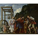 Canvas Prints Of Oil Painting 'Carlo Saraceni - Moses Defending The Daughters Of Jethro,1609-10' 12 x 15 inch / 30 x 38 cm , Polyster Canvas Is For Gifts And Bar, Game Room And Gym Decoration, ideas