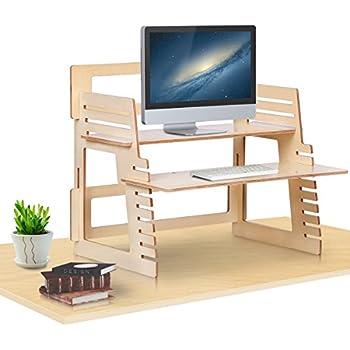 DEVAISE Standing Desk Converter - Adjustable Standing Desk Riser, Ergonomic Sit-to-Stand Workstation (Poplar)