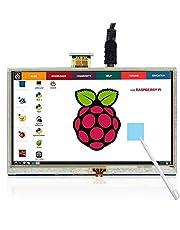 ELECROW 5 tums raspberry pi display pekskärm 800 x 480 TFT LCD-skärm HDMI-gränssnitt för Raspberry Pi 4B 3B 3B 2B B+ BB svart Banana Pi Windows 10 8 7