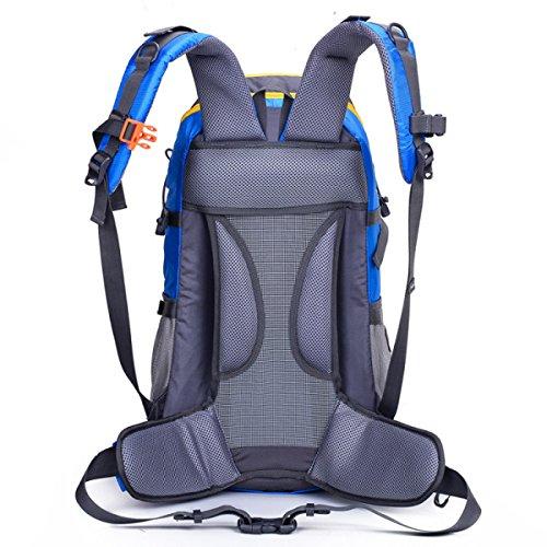 LQABW Alpinismo Profesional Del Bolso De Hombro 45L Impermeable Al Aire Libre Que Va De Excursión Masculinos Hombres Y Las Mujeres Universal Mochila,Red Blue