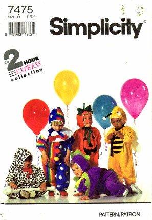 Simplicity 7475 Sewing Pattern Toddler Bee Dinosaur Dalmation Pumpkin Clown Costume Size 1/2 - 4 (Clown Costume Patterns)