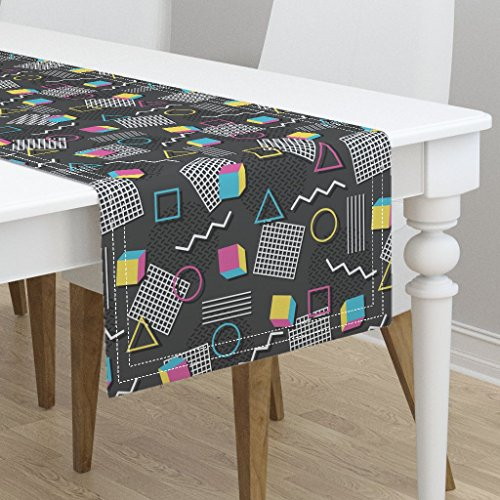 Memphis Runner - Table Runner - Memphis Style Welcome to The 90'S Retro 1990S 1980S Geometric Abstract Memphis by Robyriker - Cotton Sateen Table Runner 16 x 90