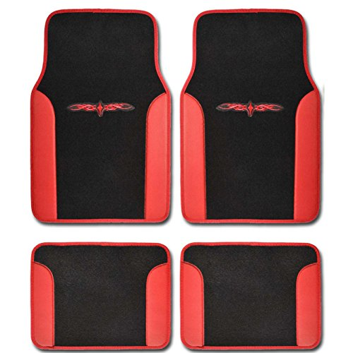 Logo Black Car Mat - A Set of 4 Universal Fit Plush Carpet with Vinyl Trim Floor Mats For Cars / Trucks (Red)