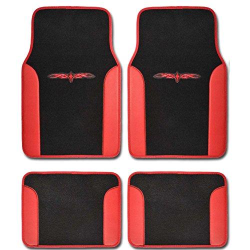 Trucks Carpet Cars Mats Floor (A Set of 4 Universal Fit Plush Carpet with Vinyl Trim Floor Mats For Cars/Trucks (Red))