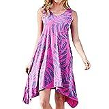 Women Dress, Fashion Women O-Neck Printing Pockets Sleeveless Easy Sandy Beach Dress (XL, Hot Pink)