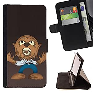 DEVIL CASE - FOR HTC One M8 - Funny Wolf Werewolf - Style PU Leather Case Wallet Flip Stand Flap Closure Cover