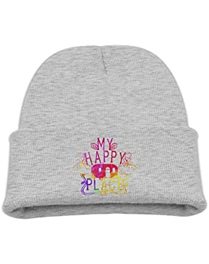 Camping My Happy Place Kid's Hats Winter Funny Soft Knit Beanie Cap, Unisex