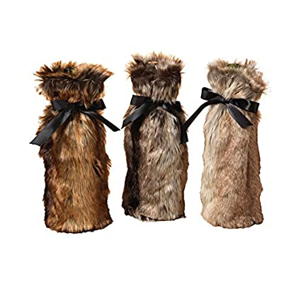 Image Unavailable. Image not available for. Color  The Gerson Company  2303340EC Faux Fur Cover Wine Bottle Decoration c5fe613856