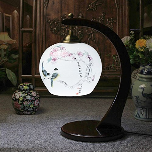 Hand Painted Porcelains Chinese Retro Table Lamp Bedroom Bedside Light Living Room Study Lamp Decoration - Painted Table Porcelain Lamps Hand