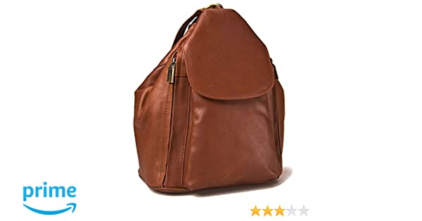 8694a39b167c Amazon.com  Visconti 18357 Medium Ladies Triangular Leather Backpack  Rucksack Handbag (Brown)  Clothing