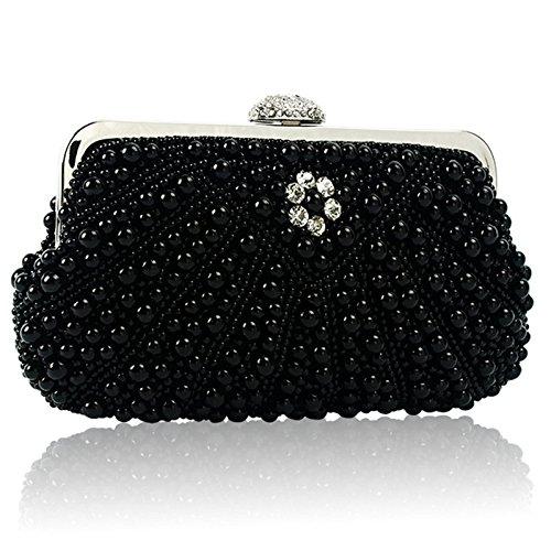 XCF WLQ Dinner Bag - Bolso de Mano de Moda - Bolso Diagonal de Perlas - Bolso de Vestir Cheongsam - Bolso Nupcial,Negro,Pequeña negro