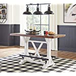 Signature Design by Ashley Valebeck Counter Height Dining Room Table, White/Brown