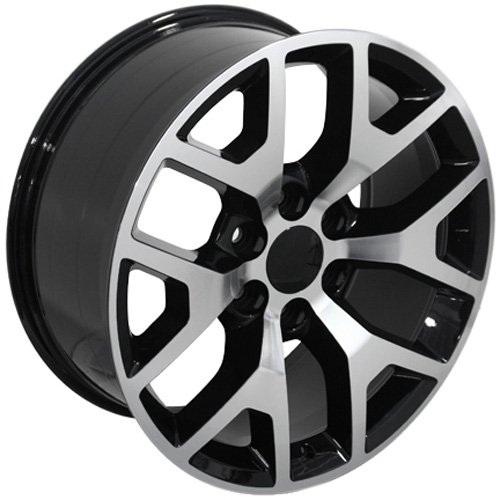 20x9 Wheels Fit GM Truck & SUV - Sierra 1500 Style Black Rims w/Mach'd Face, Hollander 5656 - SET