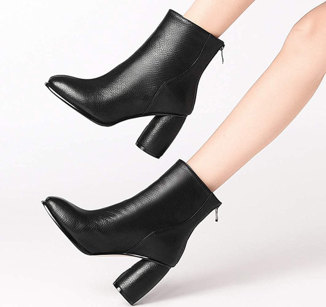 Shiney Shiney Shiney Damen Martin Stiefel High Heel Plus Samt Ankle Stiefel Zurück Reißverschluss Top Layer Rindsleder Stiefel 251421