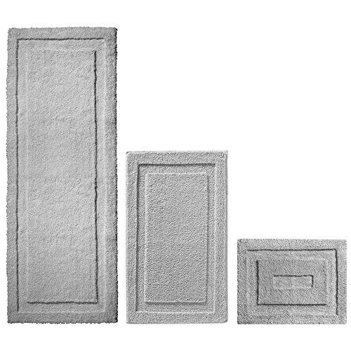 mDesign Soft Microfiber Non-Slip Bathroom Mat/Rug for Bathroom, Vanity, Bathtub/Shower, Dorm Room - Set of 3, Gray