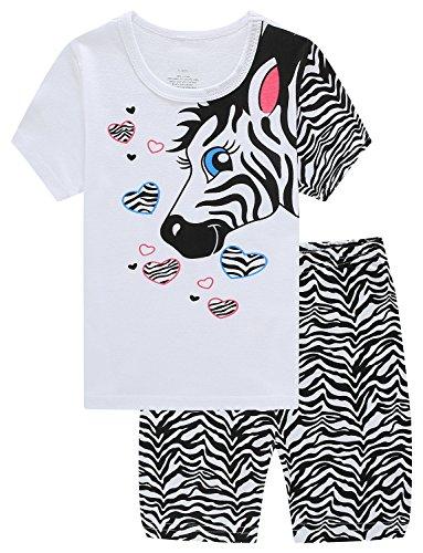 White Kids Pajamas (Family Horse Little Girl 2 Piece 100% Cotton Short Pajamas Set Soft Kid Pjs Size 3 Years)