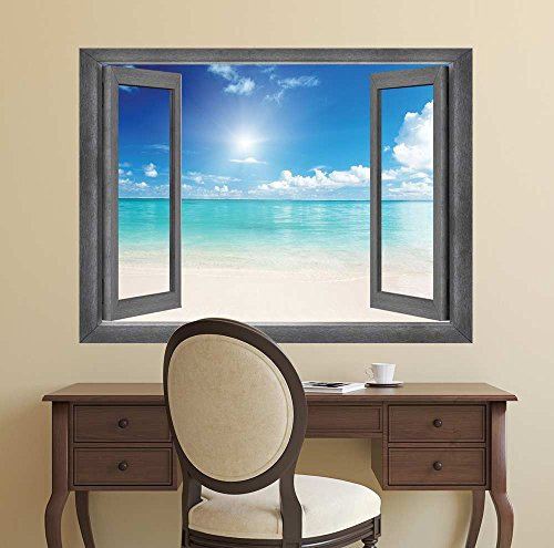 Open Window Creative Wall Decor Crystal Blue Waters at the Peak of the Day Wall Mural