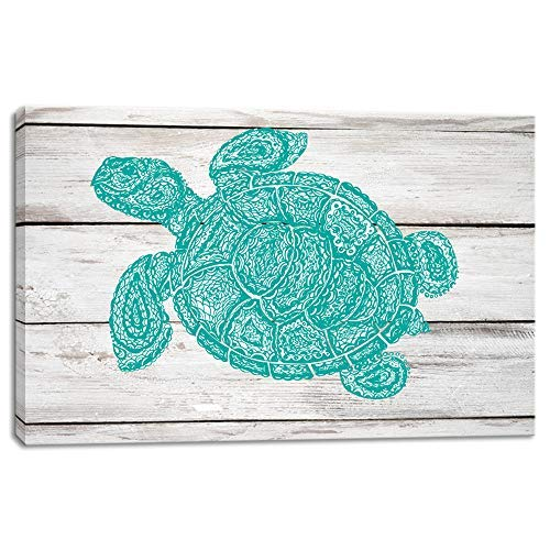 (KALAWA Rustic Wall Art for Bathroom Green Sea Turtle Wall Decor Vintage Paintings on Canvas Framed Prints Framed Prints Ready to Hang(16''W x 24''H))