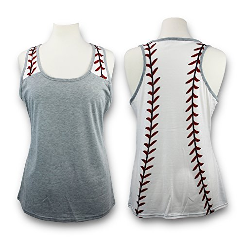 Baseball Tank Top for Mom Fans Sports Games Gifts Teen Women (Grey, X-Large)