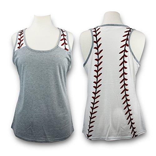 KnitPopShop Baseball Tank Top for Mom Fans T Shirt Apparel Tshirt Gifts Team (Grey, XXL) ()