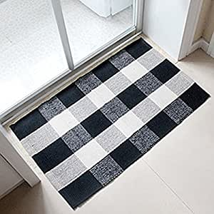 Ukeler 100 cotton plaid rugs black white hand woven for Checkered carpet black and white