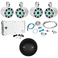 (4) KICKER LED Wakeboard Tower Speakers+Polk Audio 10 Subwoofer+6-Ch. Amp+Wires
