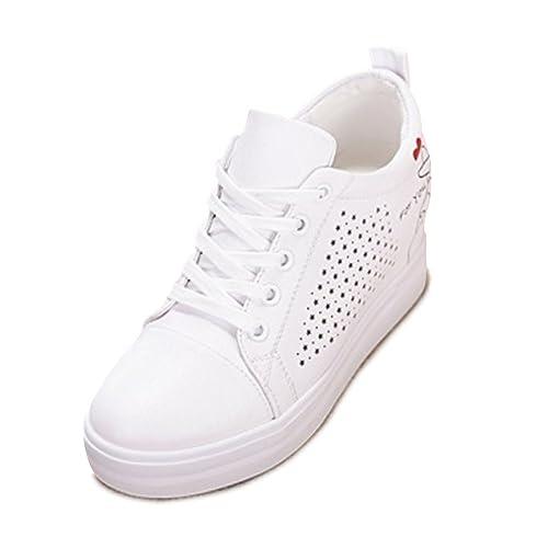 3c505d8ed2a761 SOIXANTE Chaussure Femme Baskets Tennis Talon Compensé 7 CM Sneaker Lacet,Blanc  3-été
