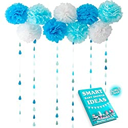 Rain Drop Garlands with Tissue Paper Pom Poms