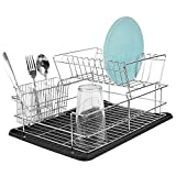 Home Basics DD41799 Kitchen Sink Countertop 2 Tier Dish Drying Rack and Draining Board (Black) - Cutlery Holder, Fits Large Plates, Dry & Drip Tray, Full Mesh