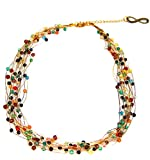 Akitai Bohemian Jewelry Colorful Gemstone Necklace Infinite Bronze Charm Summer Party Ideas