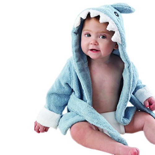 "Baby Aspen ""Let the Fin Begin"" Blue Terry Shark Robe, Blue,"
