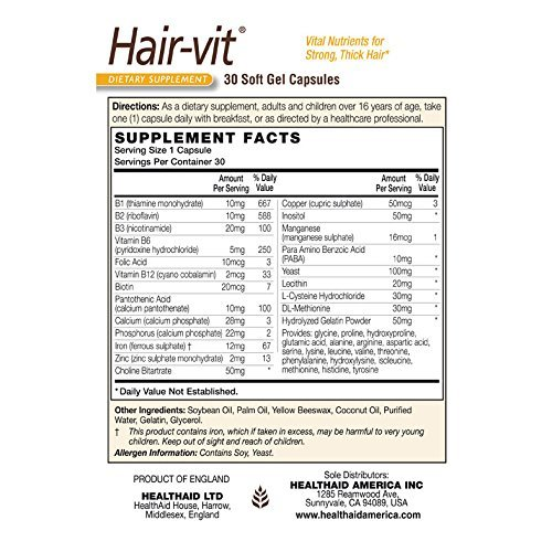 Health Aid – Hair-Vit? – 30 Caps x 6 Pack (=Total 180 Capsules) For Sale