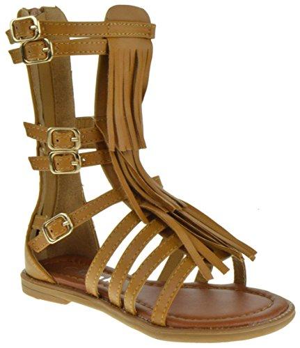Link Savannah 3Ka Baby Girls Strappy Buckled Fringe Gladiator Flat Sandals