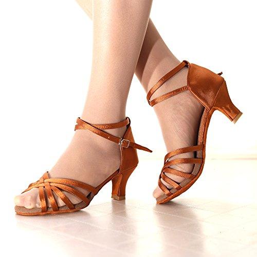 Standard Damen 5CM Braun Hoher Absatzhöhe Tanzschuhe Absatz Latein VASHCAME xIB6w1qI