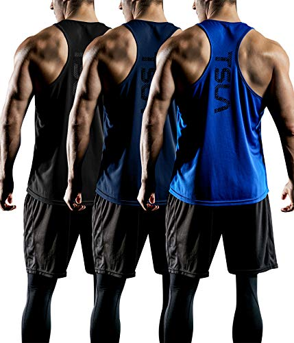 TSLA Men's (Pack of 1 or 3) Workout Muscle Tank Sleeveless Gym Training Active Workout Cool Dry Top Shirt, Active Y-Back 3pack(mtn33) - Black & Blue & Navy, Large