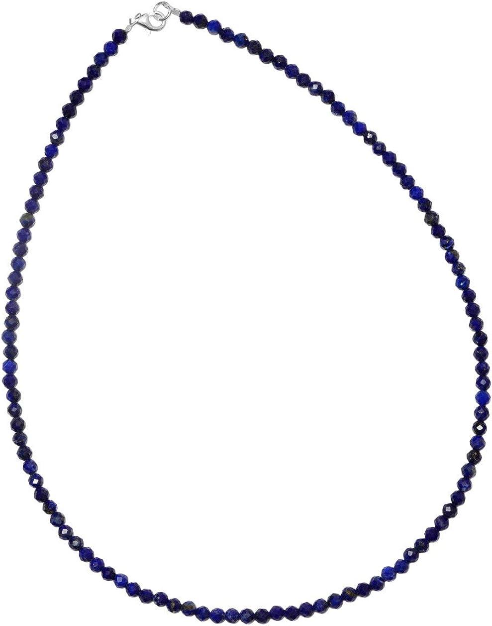 ERCE lapislázuli piedra semipreciosa collar, cierre de plata de ley 925, longitud 42 cm