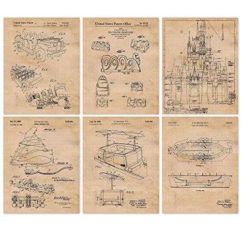 Rustic Home Decor for Boys Teens Vintage Wall Art Poster Set Gift for Mickey Mouse Girls Disney Rides Wood Sign Replica Patent Art Prints Disney World Kids Room Disneyland Fan 8x10 Photo
