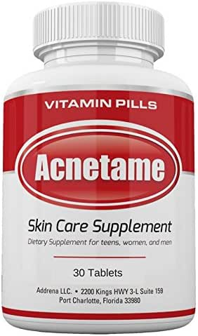 Acnetame 30 Ct Acne Pills- Supplements for Acne Vitamin Treatment- Tablets to Clear Oily Skin for Women, Men, Teens, and Adults