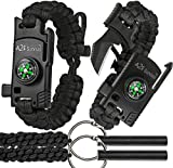 A2S 2 SHARP Paracord Bracelet 4pcs set Survival Gear Kit with Embedded Compass, Fire Starter, Emergency Knife & Whistle + 2X Fire-starters - EDC Knife Emergency Kit (Black/Black Adjustable Size)