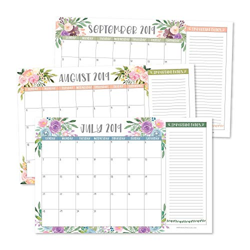 Floral 2019-2020 Large Monthly Desk or Wall Calendar Planner, Big Giant Planning Blotter Pad, 18 Month Academic Desktop, Hanging 2-Year Date Notepad Teacher, Mom Family Home Business Office ()
